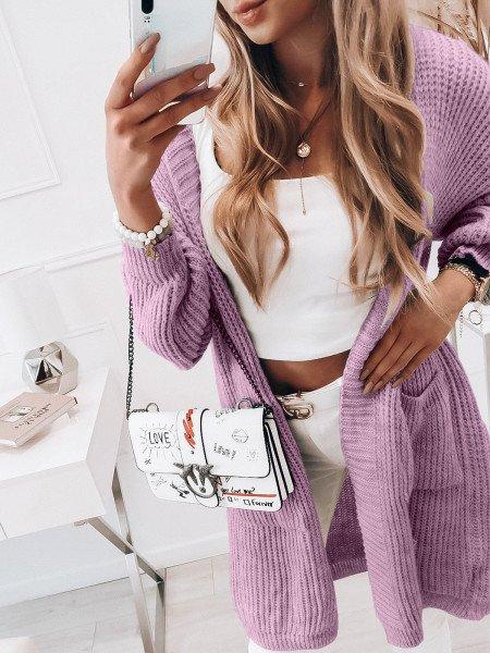 Sweterkowy kardigan KOLORADO - liliowy