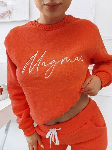 Komplet dresowy spodnie + bluza z logo MAGDA - orange