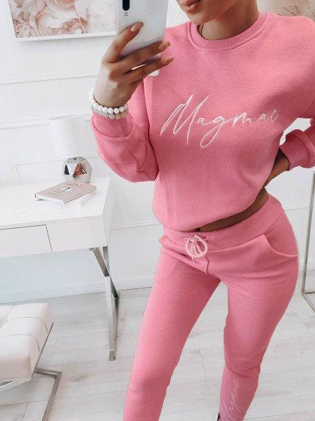 Komplet dresowy spodnie + bluza z logo MAGDA - pudrowy róż