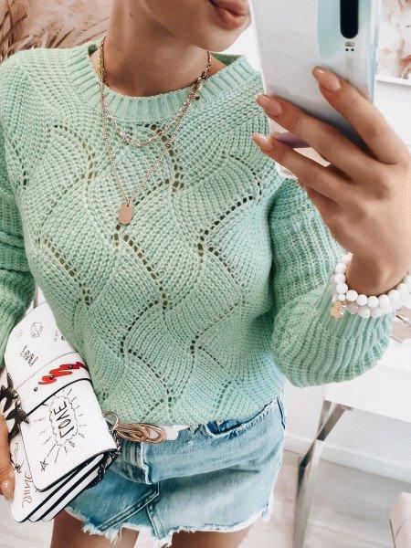 Pleciony sweter TESSA - miętowy