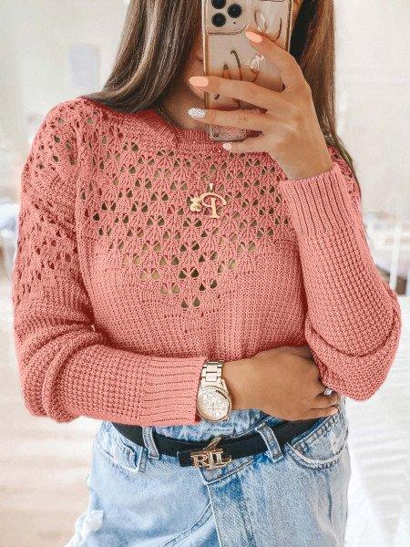 Ażurowy sweter z wycięciami GENEVA - pudrowy