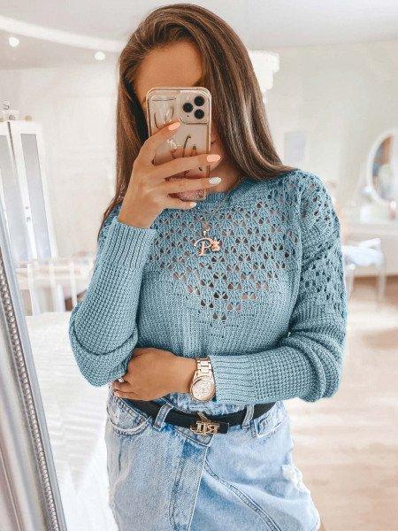 Ażurowy sweter z wycięciami GENEVA - błękitny