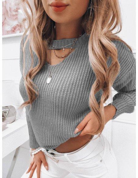 Dzianinowy sweterek z chokerem - LESLEY - szary