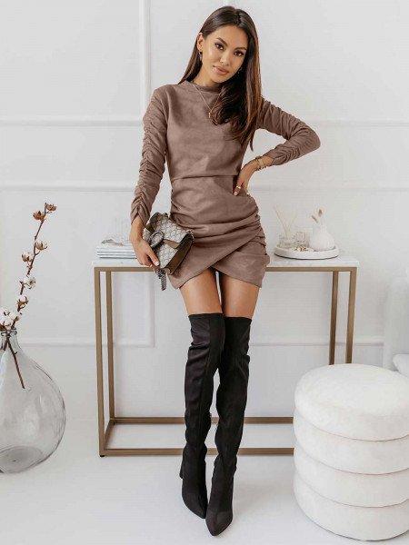 Zamszowa asymetryczna sukienka ANIKA - karmelowa