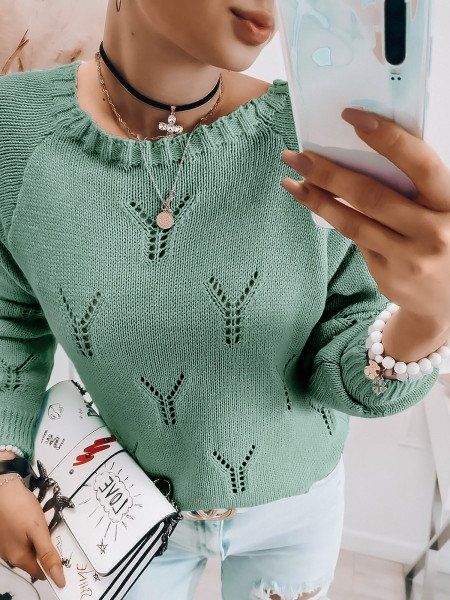 Ażurowy sweter oversize JULITA - miętowy