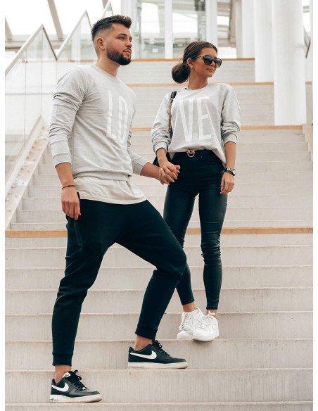 Bluza dresowa dla par z printem LOVE - szary melanż