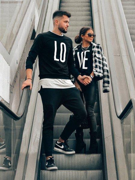 Bluza dresowa dla par z printem LOVE - czarna