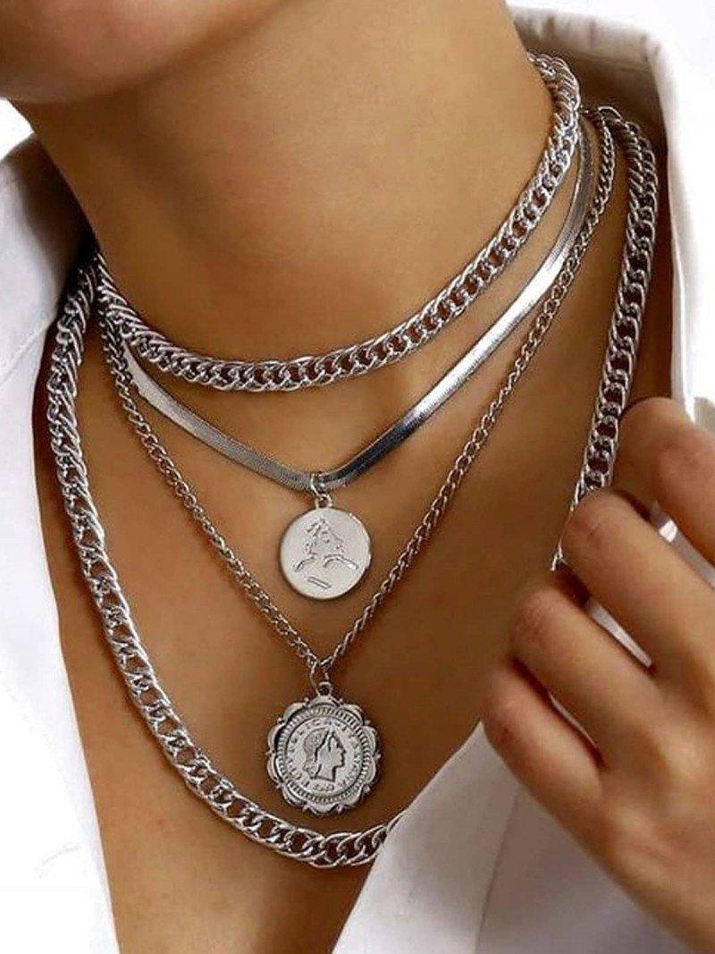 Naszyjnik łańcuch z monetami