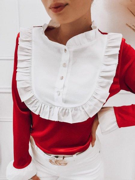 Welurowa bluzka z żabotem...