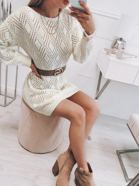 Sweterkowa tunika NELA - biały