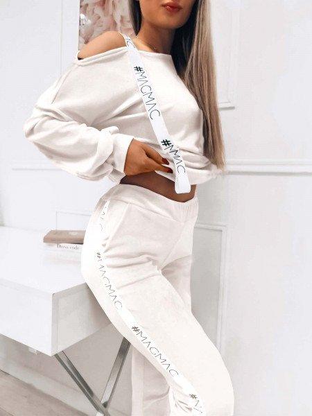 Welurowy dres z lampasem SARAH - biały