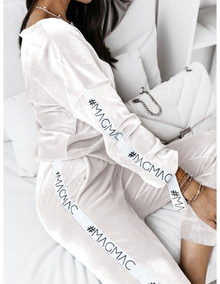 Welurowy komplet bluza+spodnie WALIA- biały