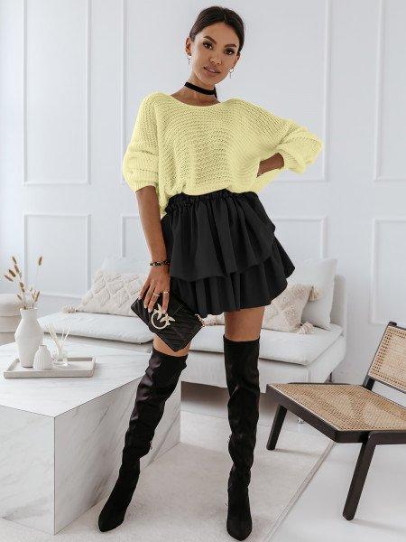 Ażurowy sweter na jedno ramię MISTIC - cytrynowy
