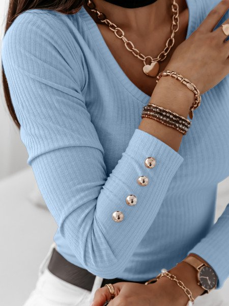 Dopasowana prążkowana bluzka ISSANA - błękitna