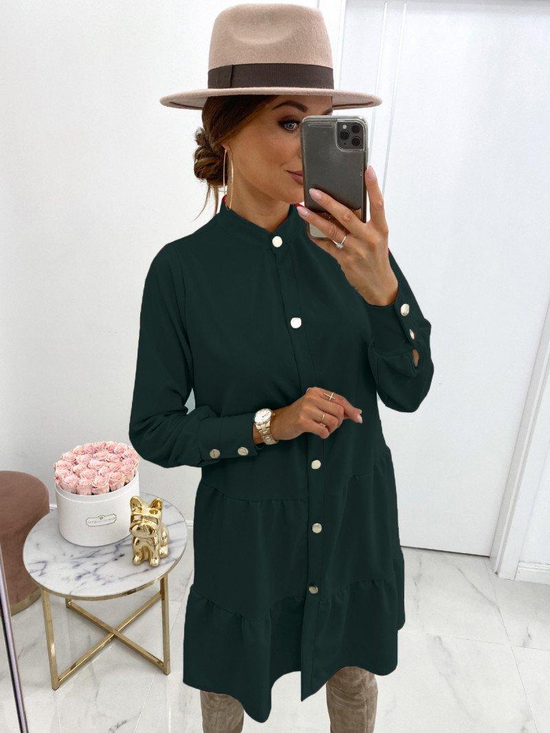 Sukienka zapinana na guziki ZIYA - butelkowa zieleń
