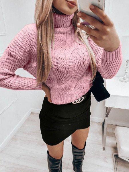 Pleciony sweter golf SONIA - pudrowy róż