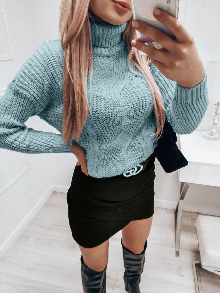 Pleciony sweter golf SONIA - błękitny