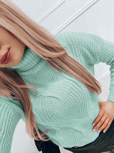 Pleciony sweter golf SONIA - miętowy
