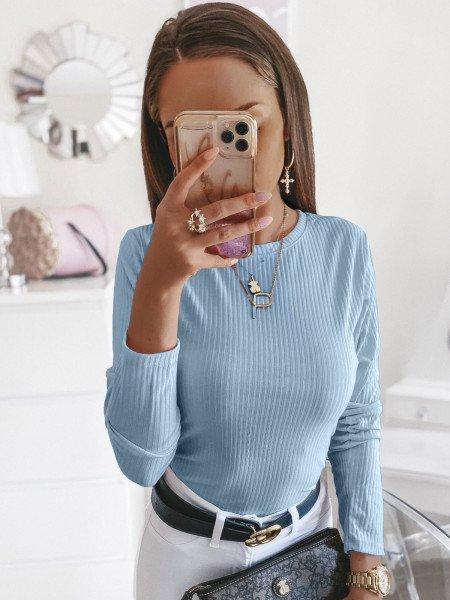 Prążkowana klasyczna bluzka ROSALIE - błękit