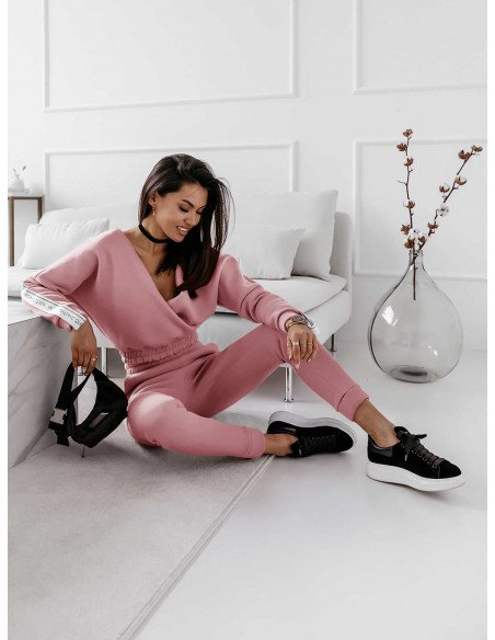 Dres spodnie + kopertowa bluza NATURALS - brudny róż