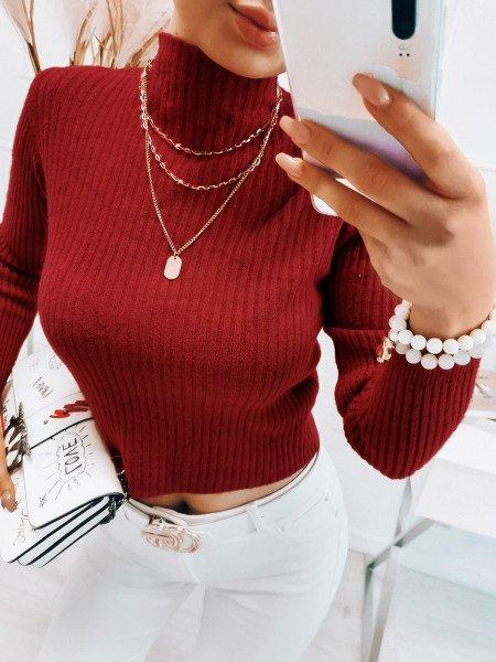 Prążkowany sweter ze stójką - BETI - czerwony
