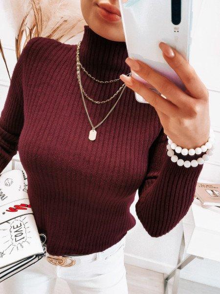 Prążkowany sweter ze stójką - BETI - bordowy