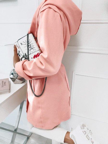 Flauszowy płaszcz STEPHANIE - pudrowy róż