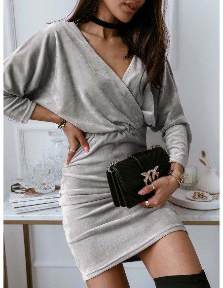 Welurowa ołówkowa sukienka SOFT - szary