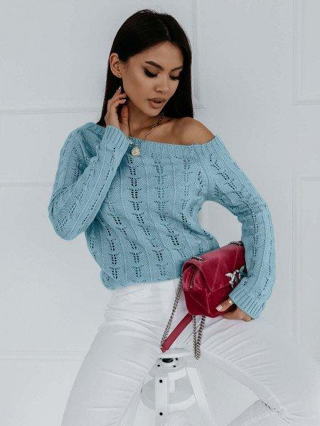 Ażurowy sweter na jedno ramię NASTALA - błękitny