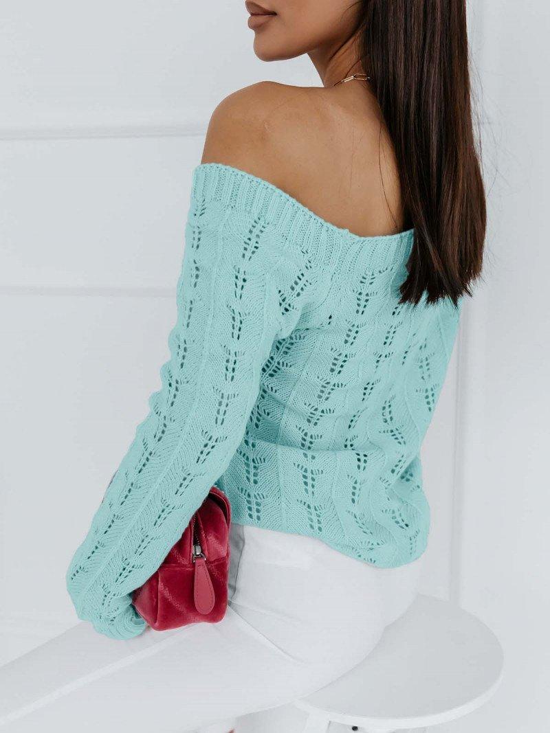 Ażurowy sweter na jedno ramię NASTALA...