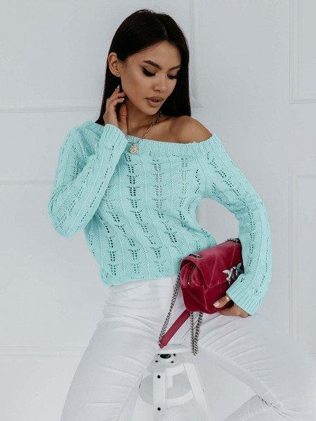 Ażurowy sweter na jedno ramię NASTALA - miętowy