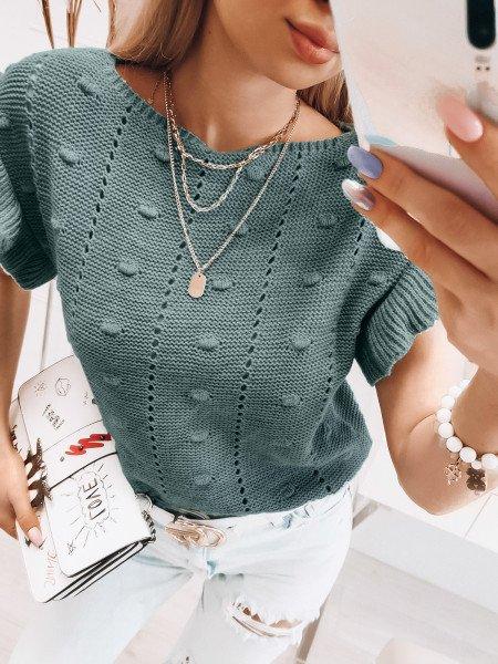 Ażurowy sweter z falbanami - ADELA - mięta