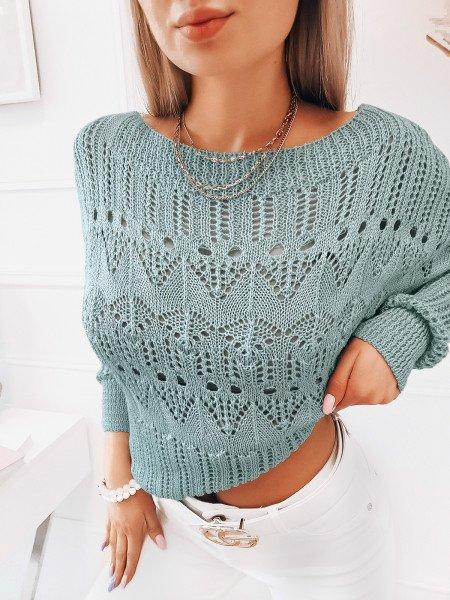 Ażurowy sweter oversize EUNIKA - błękitny