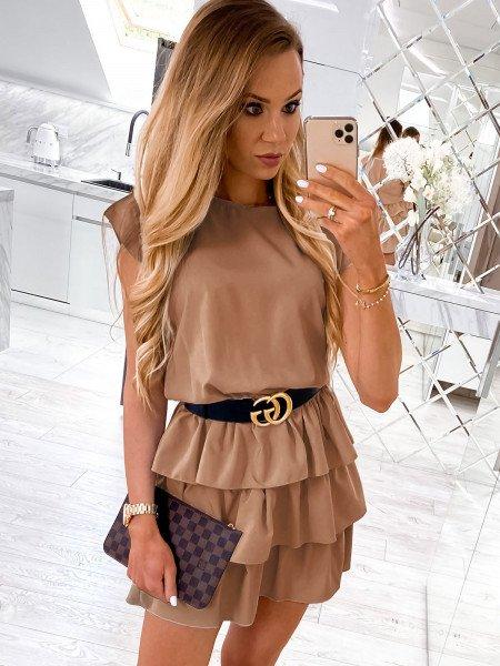 Mini sukienka z falbankami CLEO - karmelowa
