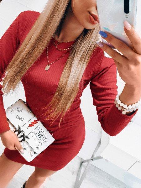 Dopasowana prążkowana sukienka - OFELIA - czerwona