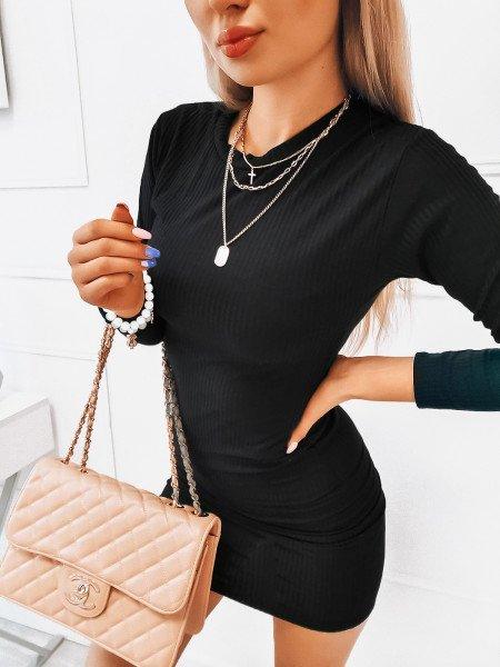 Dopasowana prążkowana sukienka - OFELIA - czarna