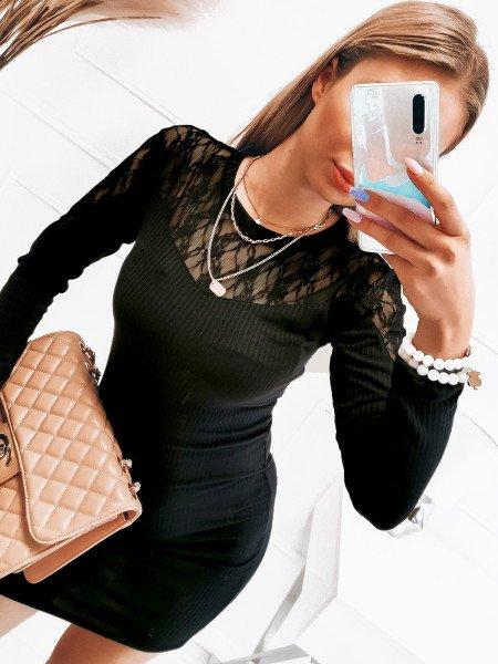 Dopasowana prążkowana sukienka - ODETA - czarna
