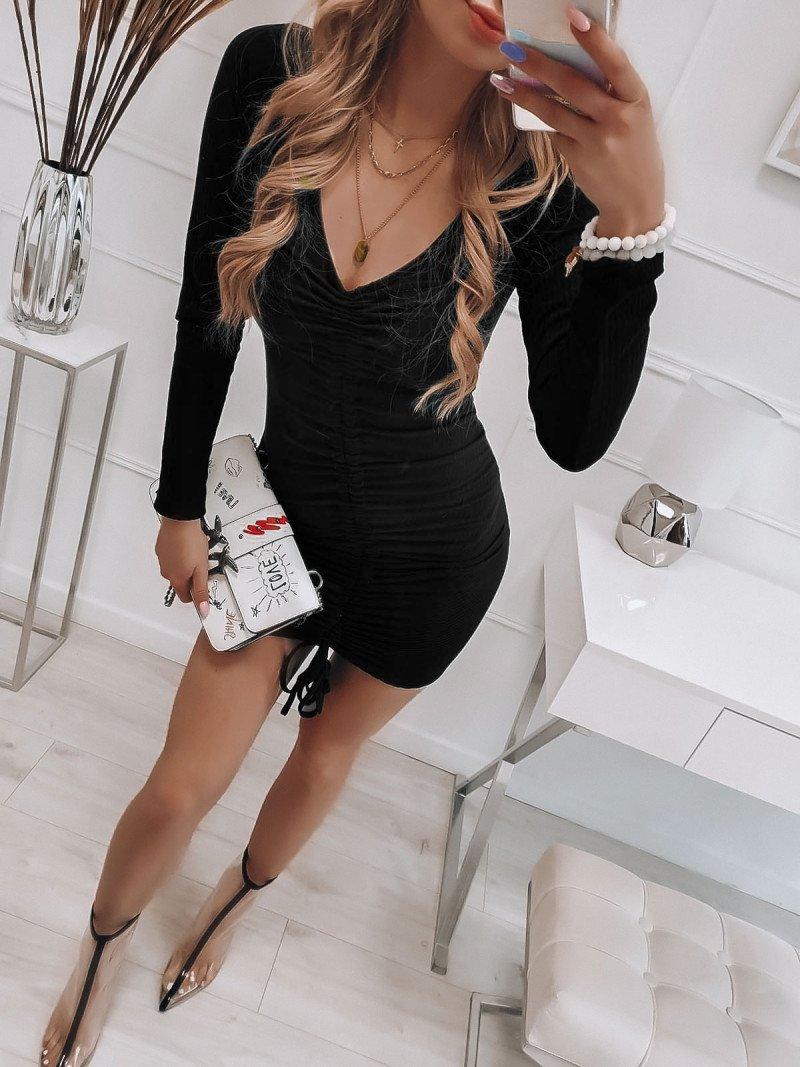 Sukienka z marszczeniem WIKI - czarna