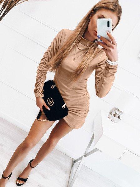 Zamszowa asymetryczna sukienka ANIKA - beżowa