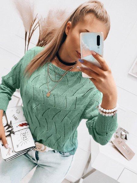 Ażurowy sweter z dekoltem w łódkę - ATALIA - miętowy