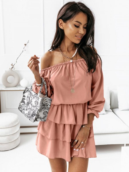 Rozkloszowana sukienka z falbanami ROMANTIC - brudny róż