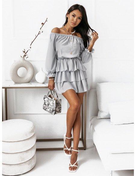Rozkloszowana sukienka z falbanami ROMANTIC - popiel
