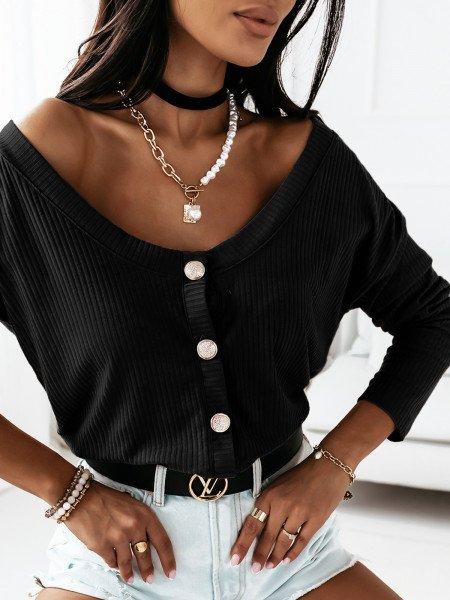 Prążkowana bluzka zapinana na guziki ELITE - czerń
