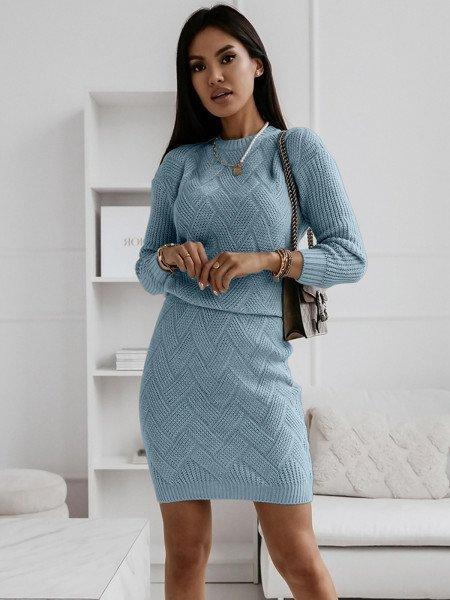 Dzianinowy komplet sweter + spódnica - BLANKA - błękitny