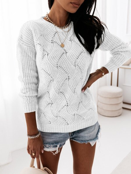Pleciony sweter TESSA - biały