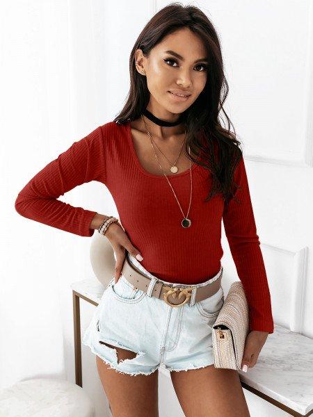 Prążkowana bluzka z okrągłym dekoltem GINETTE  - czerwona