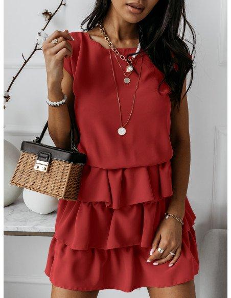 Mini sukienka z falbankami CLEO - czerwony