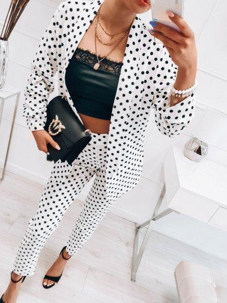 Komplet żakiet i spodnie - CRUELLA - biały