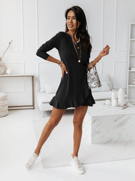 Przekładana sukienka z falbaną SARITTA - czarna