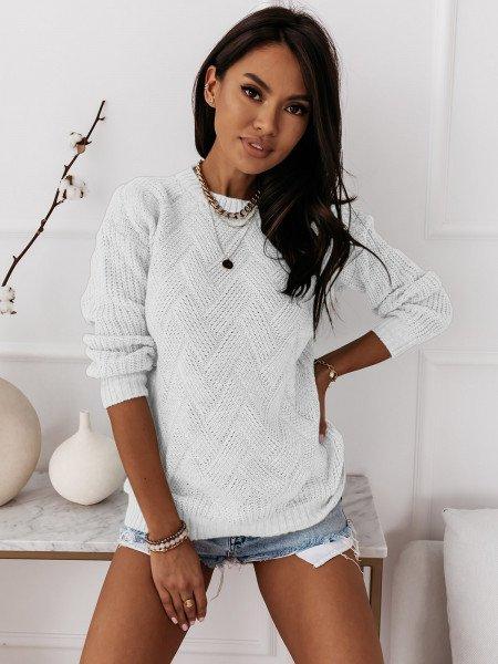 Sweter z ozdobnym splotem DAGIE - biały